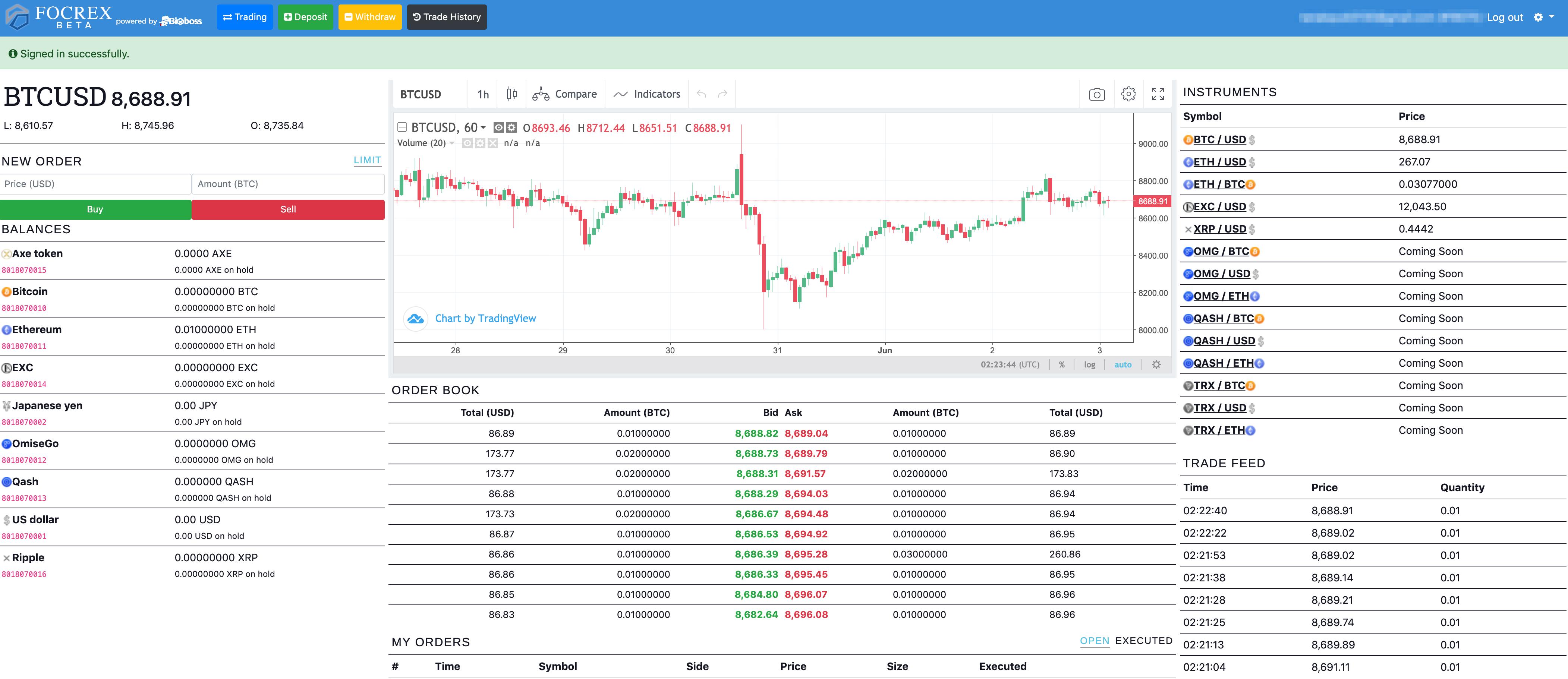 FOCREXの管理画面