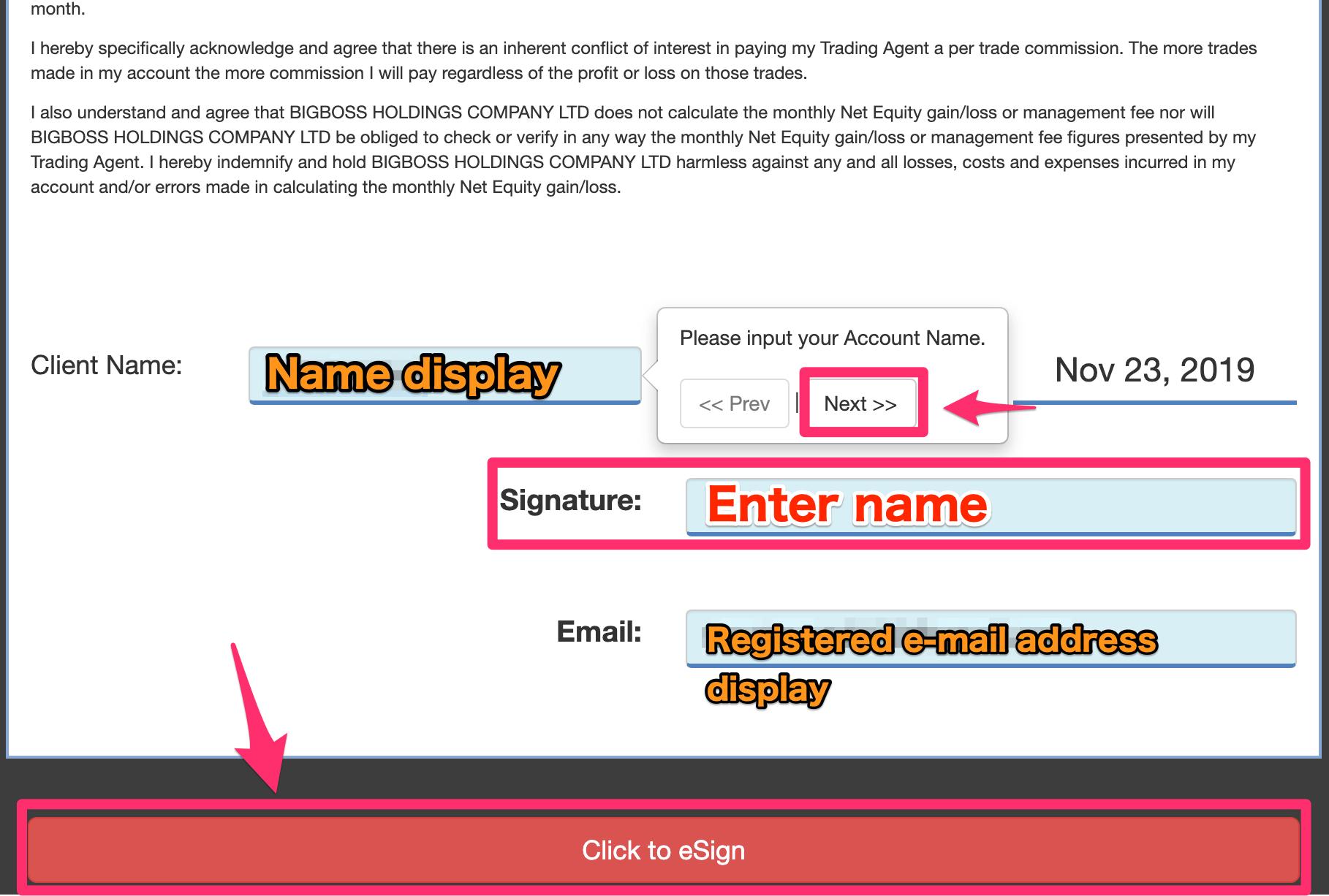 Signature/Confirmation (POA form)