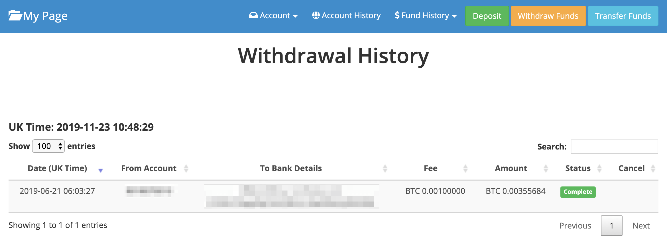 Completion of withdrawal application