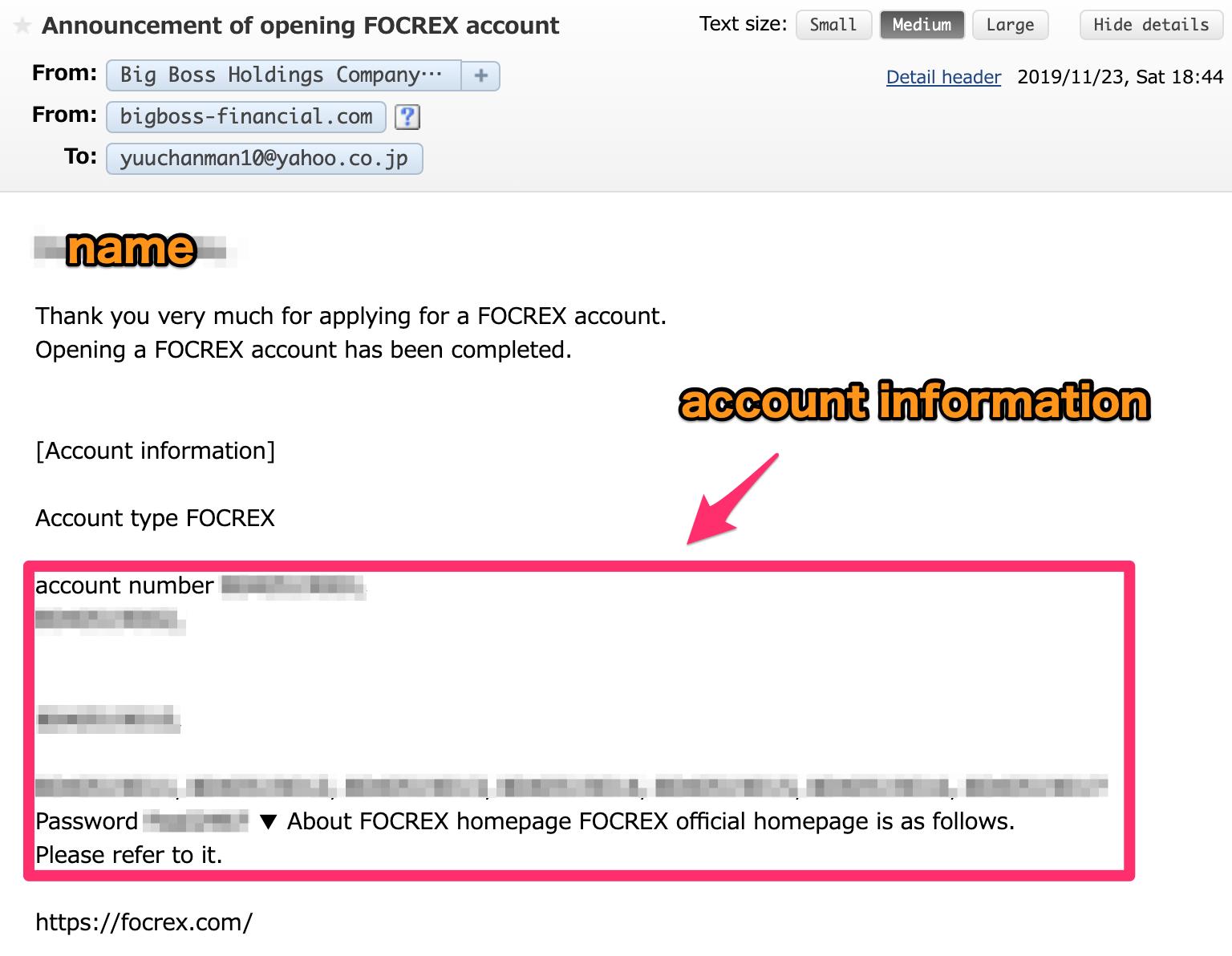 FOCREX account information